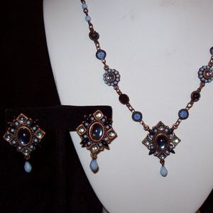 Avon Necklace Blue & Antiqued Brass